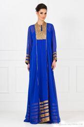 4c6b9935534 Manches longues Robe élégante 2019 Nouveau Vintage Royal Bleu Dubaï arabe  caftan musulman formelle robes de soirée de style arabe 212