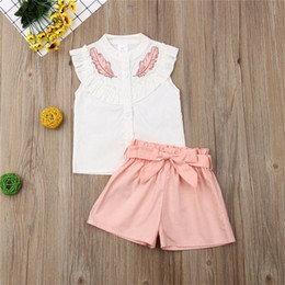 cute t shirt outfits Australia - Cute Girls Leaf Print 2 Pieces Clothing Sets Childs Outfits Sleeveless Lotus Leaf Collar T-shirts+shorts Sets with Bow Belt Clothes 3301