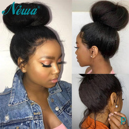 frontal wigs human hair NZ - Newa Hair 360 Lace Frontal Wig Kinky Straight Brazilian Lace Frontal Human Hair Wigs Pre Plucked With Baby 180% Remy Wigs