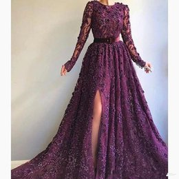 Red o neck pRom gown online shopping - Grape Elegant Side Split Evening Dresses With Sash O Neck Beads Sequins Appliques Lace Prom Dress Long Dubai robe de soiree Party Gowns