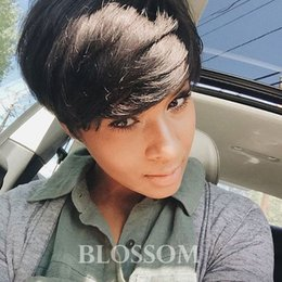 $enCountryForm.capitalKeyWord Australia - 2019 New Style Natural black Short Pixie Cut Curly Wig 100% Human Hair Lace Wigs For Black Women