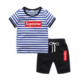 Wholesale Baby Boys Girls designer clothes children cotton clothing Sets stripe T shirts And Shorts Suit Brand Tracksuits Kids Clothing Set