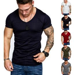 $enCountryForm.capitalKeyWord Australia - 2019 New Style Fashion Hot Men's Slim Fit V Neck Solid Short Sleeve Muscle Tee V Neck Casual T-shirt Tops