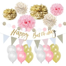 Party dots for balloons online shopping - Pack of Birthday Party Decoration Kit Gold Polka Dots Pom Poms Happy Birthday Banner Pennant Flags Balloons for Birthday
