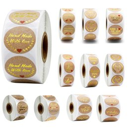 Wholesale 500pcs roll Thank You Sticker Different Style Kraft Seal Label Sticker DIY Gift Decoration and Cake Baking Package diameter 1 inch DHF141