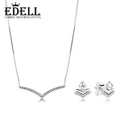Wish Earrings Australia - EDELL 100% 925 Sterling Silver New 2019 Early Spring Classic Wishes Earring Studs Shimmering Wish Collier Necklace Gift Set