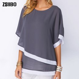 plus size clothing batwing shirt Australia - Plus Chiffon Patchwork Irregular Blouse Casual Sexy Batwing O Neck 2019 Summer Large Size Women Shirts 4xl 5xl Clothes C19041201