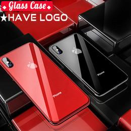Vente en gros Coque en Verre Logo pour Apple iphone 7 8 Plus X XS XR Coque Coque Arrière en Verre Trempé TPU Edge pour iphone 6 6S XS Max Coques Coque d'origine pour iPhone XR 6S