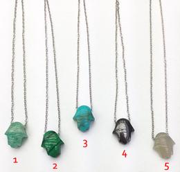 $enCountryForm.capitalKeyWord Australia - YA3108 Mixed Stone Hamsa Jaspers Faceted Small Pendant Chain Necklace 18inch