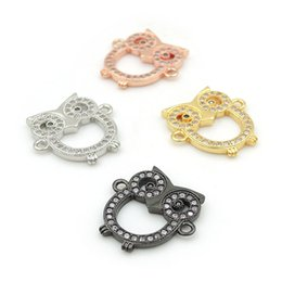 Clear Connectors Australia - 16*17*2mm Micro Pave Clear CZ Owl Charm Connectors Fit For Men And Women Making Bracelets Jewelry