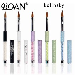 kolinsky sable brushes acrylic UK - Tools Nail Brushes BQAN 1PC #8#10#12#14#16#18#20 Kolinsky Sable Acrylic #10 Nail Art Brush UV Gel Carving Pen Brush Liquid Powder