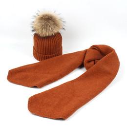 b73ddab96ae Winter Women Baby Beanies Hats Mom Knitted Hat Scarf Set Raccoon Fur Pompom Ball  Caps Kids Hats Pom Beanie Cap Warm Beanie Suits