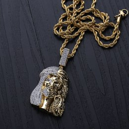 $enCountryForm.capitalKeyWord Australia - Gold Color Religious Ghost Jesus Head Pendant Necklaces with Rope Chain for Men Hip Hop Jewelry Gift
