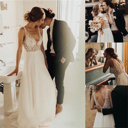 $enCountryForm.capitalKeyWord Australia - New Arrival Simple Boho Wedding Dress A Line White Ivory Tulle Pearls Beaded Princess Backless Beach Bride Wedding Gowns 2020