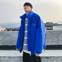 Korean Red Clothes Australia - 2018 Korean Winter Men's Fashion Stand Collar Splice Color Cotton-padded Clothes Loose Casual Warm Red Blue Jackets Coats M-XL