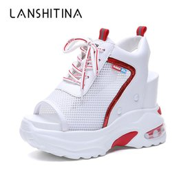 $enCountryForm.capitalKeyWord NZ - New Arrival 2019 Summer Platform Sandals Women 10 Cm Wedges Thick Bottom Casual Shoes Comfortable White Lace-up Sandals Sneakers Y190704
