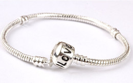 17cm snake chain UK - Wholesale-925 sterling silver charm love bracelet snake chain for women DIY pulseira jewelry, with logo love pandora bracelets 17cm to 22cm