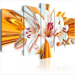 oil picture frames flowers Australia - Hd modern Top Wall Deocr Canvas Painting 5 Pcs Gold Lily Flower Modern Printed Oil Pictures Beauty In Home Living Room No Frame