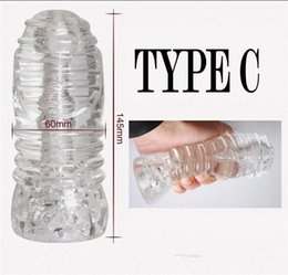 pocket pussy male toy UK - new Transparent Silicone Male Masturbator 4 Type Penis Trainer Sex Products Pocket Pussy Stroker Stretchy Masturbation Cup Sex Toys