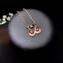 Jewelry & Watches Great Varieties Bright Sterling Silver Red Aaa Zircon Pendant Necklace