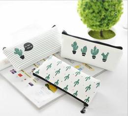 $enCountryForm.capitalKeyWord Australia - creative cactus Pencil Case Purse canvas Portable Pen Money Wallet stripe zipper Pouch Pocket Keyring Gift Kawaii pencil Bag cute design