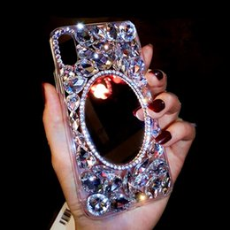 $enCountryForm.capitalKeyWord NZ - Fashion Makeup mirror phone cover for iPhone Xs 6 7 8 plus Luxury Rhinestone mobile phone case tide brand phone cover