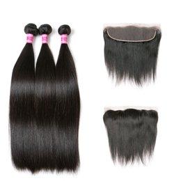 Cheveux raides malaisiens 13X4 en dentelle frontale avec paquets 3 paquets de cheveux humains Remy avec fermeture partie libre naturelle / noir de jais en Solde