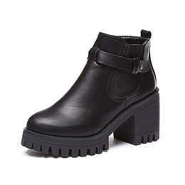 26017c5e0312 New Winter Women Black medium Heel Boots Buckle Gothic Punk Ankle Boots  Shoes Free Shipping