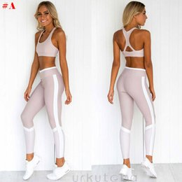 gym apparel UK - Women's Crop Top Pants Trousers Gym Workout Outfit Set Athletic Apparel