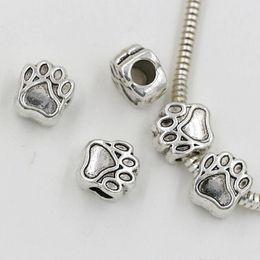 Hot 40pcs lots Antique silver Zinc alloy Paw prints Spacers Big Hole Beads Fit Beaded Charm Bracelet 11*10mm DIY Accessories on Sale