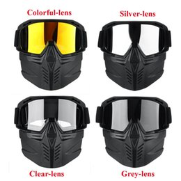 skiing face protectors 2019 - New 2 in 1 Detachable Motorcycle Motocross Ski Double plush Full Face Mask Goggles Riding Cycling Protector Outdoor 19x1