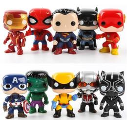 Figures Australia - FUNKO POP 10pcs set DC Justice action figures League & Marvel Avengers Super Hero Characters Model Vinyl Action & Toy Figures for Children