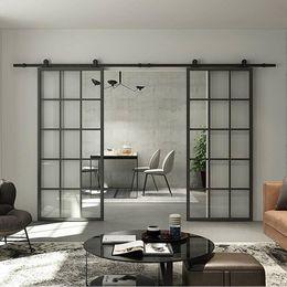Nuevo Panel interior Negro con marco de aluminio francesa puerta de granero vidrio templado transparente deslizante puerta de granero de la losa de cristal moderna puerta de granero (desmontado) en venta