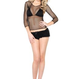 fishnet tops wholesale Australia - Swimmwear Hot Women Sexy Long Sleeve See Through Cover Ups Bathing Suit Mesh Fishnet Casual Top Tee Shirt Sheer Black