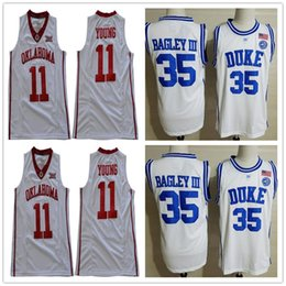e707f70bf20d 2019 Cheap Lowest Price Duke Blue Devils  35 Bagley III Home Adult Jersey  Oklahoma Sooners  11 Young Marvin Trae White Mens Shirt S-3XL
