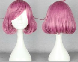 Wig Purple Mixed Australia - Noragami Kofuku Wavy Anime Costume Cosplay Mix pink purple Wig + Free CAP