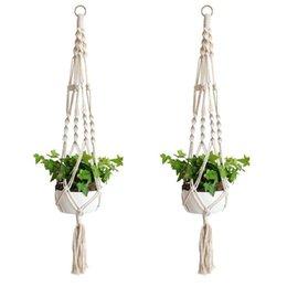 Pianta Hanger Hook Flower Pot Handmade Knitting Cordone naturale Cesto di fioriera Cesto Casa Giardino Decorazione balcone