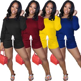 Wholesale pant shirt one piece resale online – Women Jumpsuit Rompers Long Sleeve Off Shoulder T shirt Shorts Pant Overall Solid Color One Piece Short Trousers Drawstring Shorts CZ608