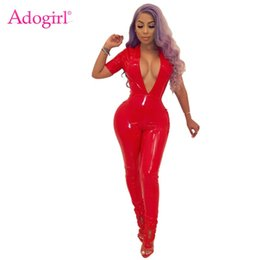 red leather jumpsuits Australia - Solid Fleece PU Leather Jumpsuit Women Rompers Sexy Deep V Neck Short Sleeve Elastic Overalls Night Club Outfits Jumper