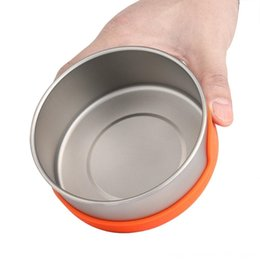 titanium pot outdoor UK - Outdoor Titanium Hiking and Camping Camping & Hiking Bowl Pan Pot Silicone Insulation Bowl Outdoor Camping Tableware Picnic Water Cup Mug