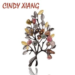 elegant suit for party NZ - CINDY XIANG Vintage Stone Tree Brooches for Women Large Elegant Suit Dress Brooch Pin Fashion Jewelry Party Accessories Gift D19011502