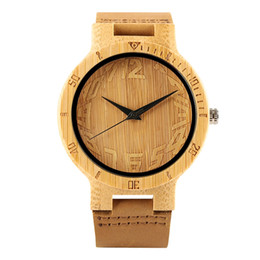 $enCountryForm.capitalKeyWord UK - Bamboo Wooden Watch for Men, Artistic Digital Dial Bamboo Wood Watches for Women, Natural Bamboo Watch with Brown Leather Strap for Friends