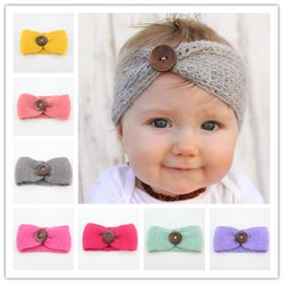 knit headbands winter fashion accessories Australia - 2020 Newest Baby Girls Fashion Wool Crochet Headband Winter Infant Ear Warmer Hair Band Cute Accessories Knit Hairband With Button Free DHL
