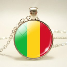 Necklaces Pendants Australia - European Fashion Boho Long Chain Time Gem Glass Cabochon Mali National Flag World Cup Football Fan Choker Necklace Women Men Pendant Jewelry