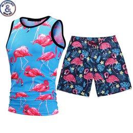 $enCountryForm.capitalKeyWord Australia - Novelty Flamingo Tank Tops Board Shorts Casual Sets Summer Style 3d Print Beach Shorts Sleeveless Vest 2 Pieces Tracksuit Sets