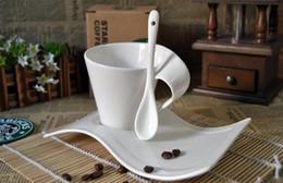 Wholesale european cups online – design European White Wave Coffee Cup Ceramic Creative Household Cappuccino Milk Teacup