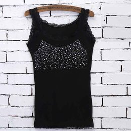 low cut t shirts 2019 - Leisure Women Girl Rhinestone Sequin Lace Tank Female Lace Collar Tank Top Low-cut T-shirts Solid Sleeveless Camisole To