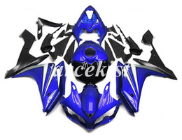 r1 tank UK - Motorcycle New ABS Injection Mold Full Tank cover Fairings Kits Fit For YAMAHA YZF-R1 2007 2008 07 08 bodywork set Darkblue Light