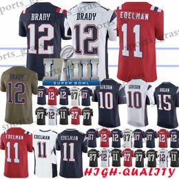 6ae6e4a56 10 Josh Gordon 12 Tom Brady New Patriot jersey 11 Julian Edelman 15 Chris  Hogan 87 Rob Gronkowski jerseys 2019 Adult shirt