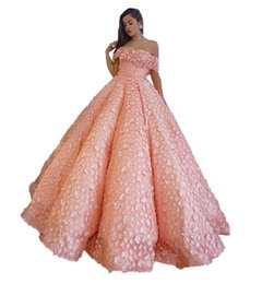 prom dress pink fluffy NZ - 2020 Pink Petals Prom Dresses Sexy Off The Shoulder Fluffy Ruched Evening Gowns Saudi Arabic Floor Length Women Formal Party Dress Vestidos
